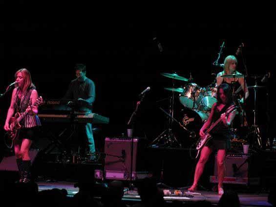 The Bangles (l-r): Vicki Peterson, drummer Debbi, Hoffs (with Greg Hilfman in the background) - ANNIE ZALESKI