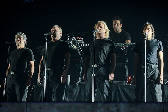 The tour's backing vocalists, including three members of the band Venice. Roger Waters' The Wall Live Tour at the Scottrade Center - TODD OWYOUNG