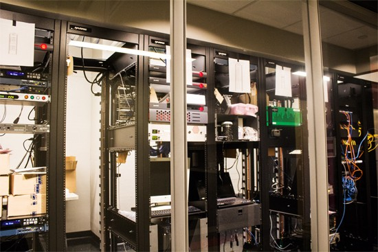 KDHX's equipment rack room looks like a high-tech set from Star Trek.