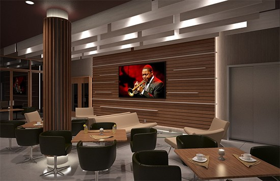 A video wall in the jazz lounge. - THE LAWRENCE GROUP
