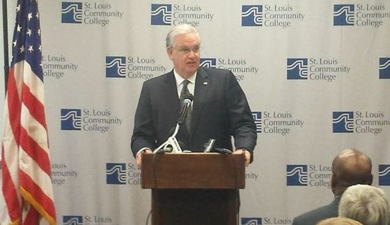 Governor Nixon giving the speech. - DANNY WICENTOWSKI