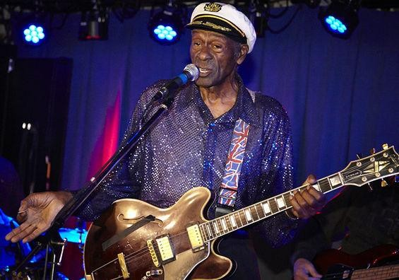 Still rock'n: Chuck Berry addresses the crowd during an October 2013 show at Blueberry Hill. - PHOTOS: STEVE TRUESDELL