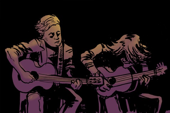Jason Isbell joins Ryan Adams onstage at the Peabody Opera House. - ILLUSTRATION BY SAM WASHBURN