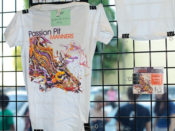 Passion Pit merch last night at Suite 100 adjacent to the Pageant. See more photos from last night's Passion Pit show at the Pageant. - PHOTO: JASON STOFF