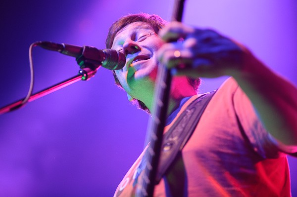 Rob Derhak of moe. performing at the Pageant on February 16, 2012. - TODD OWYOUNG
