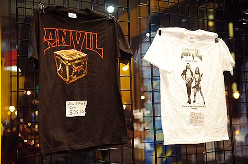 Anvil merch last night, in Suite 100, adjacent to the Pageant. See the full slideshow from last night here. - PHOTO: TODD OWYOUNG