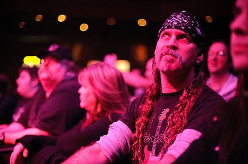 A metal fan last night at the Pageant. See the full slideshow from last night here. - PHOTO: TODD OWYOUNG