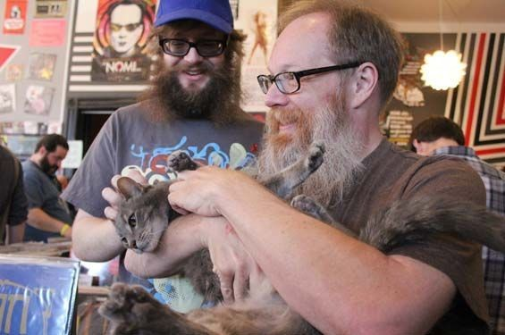 Graham Matthews and Stephen Houldsworth and everyone's favorite record store cat. - MABEL SUEN
