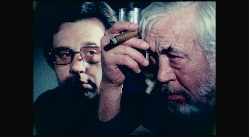 Peter Bogdanovich as himself and John Huston as Jake Hannaford, two directors with a fraught relationship. - COURTESY OF NETFLIX