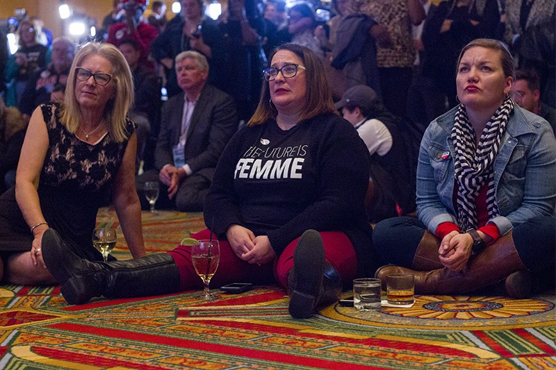 McCaskill supporters react to CNN calling the race for Hawley. - DANNY WICENTOWSKI