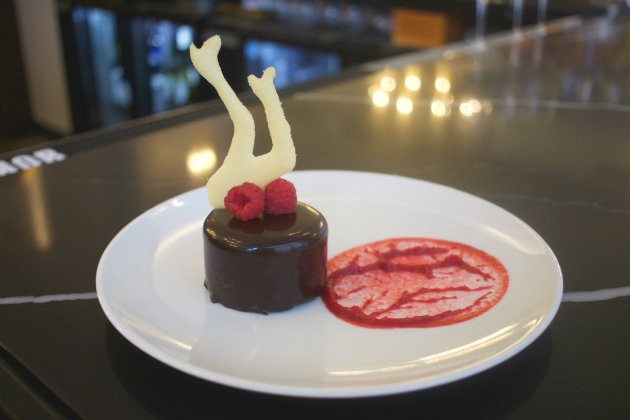 The chocolate peanut butter mousse is garnished with a pair of dancing legs as an homage to the Rockettes, who began in St. Louis. - CHERYL BAEHR