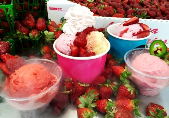 Louisiana Strawberry Nitrogen Frozen Ice Cream at Ices Plain and Fancy | Max Crask