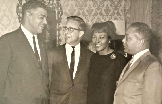 Harry and Carrie Bash, center, with civil rights leader Whitney Young (left) and William Douthit, the director of the St. Louis Urban League.