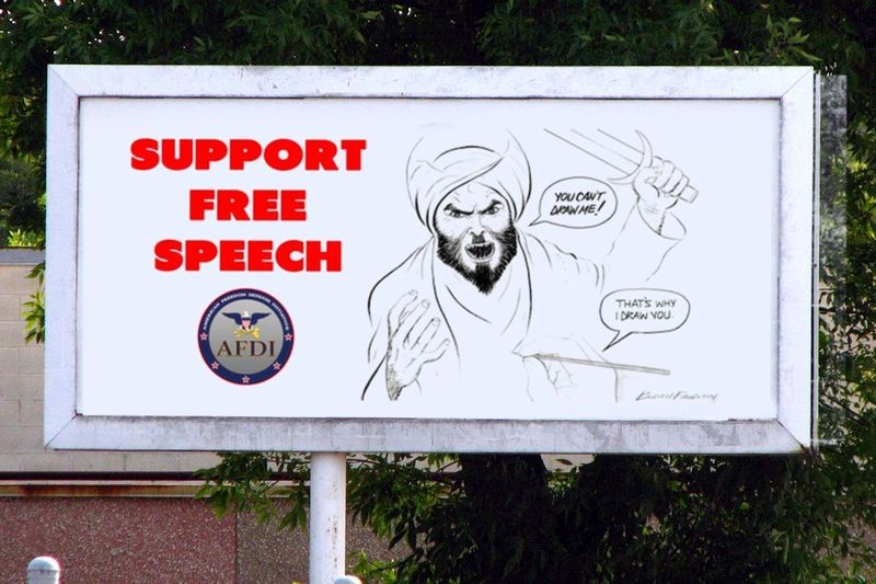 "The illustration on this billboard was the winning entry in Pamela Geller's ""Draw Muhammad"" contest. - AFDI"
