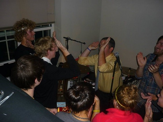 The crowd at one of Volcanoes' dorm shows. - BRITTANY ESTES