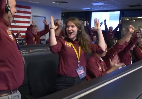University of Missouri grad Brooke Harper and a fellow NASA engineer celebrate InSight's landing. - SCREENSHOT VIA YOUTUBE