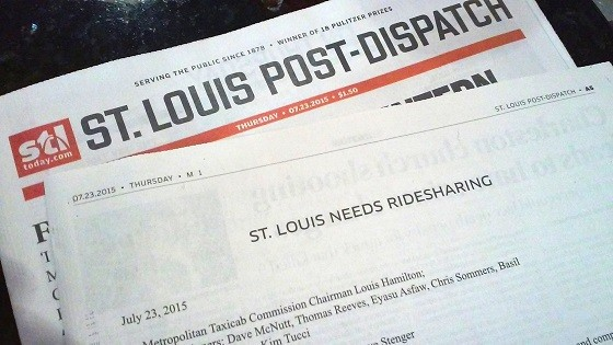 Uber just bought a full-page ad in the Post-Dispatch