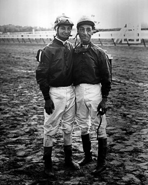 Two of the greatest jockeys in racing history: Bill Hartack and Eddie Arcaro. - COURTESY OF THE DELEWARE HISTORICAL SOCIETY