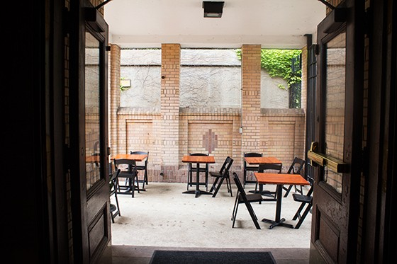 Patio seating available.