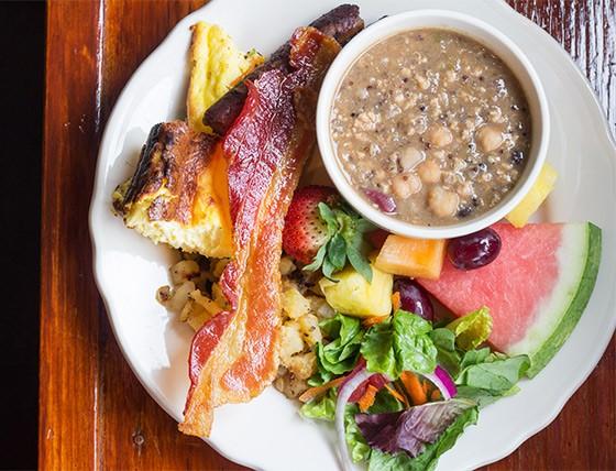 Corvid's spread includes frittata, bacon, quinoa soup, salad and fresh fruit. | Photos by Mabel Suen