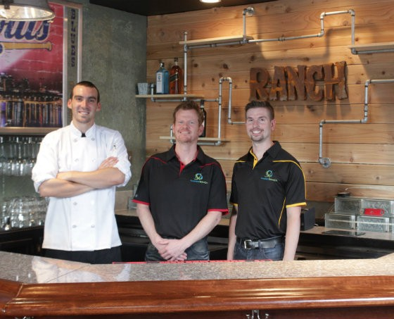 Twisted Ranch chef Johnathan Tinker (left) with co-owners Jim Hayden and Chad Allen. - PHOTO BY SARAH FENSKE