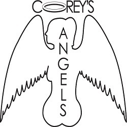 The logo for Corey's Angels, which looks exactly as much like a tumor-riddled penis with wings as it does a silhouette of a quadruple-amputee angel-woman with a ponytail.