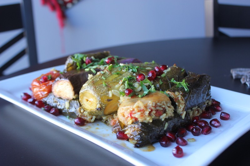 Mohammed's dolma don't just include stuffed grape leaves — they also include stuffed eggplant, tomatoes and zucchini. - SARAH FENSKE