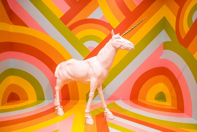 At Museum of Ice Cream, a selfie museum that began in San Francisco, props include a unicorn that you can climb right on top of. - FLICKR/THOMAS HAWK