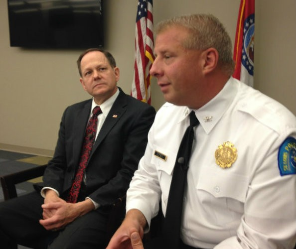 Mayor Francis Slay and Police Chief Sam Dotson discuss a September 25 shooting outside Busch Stadium. - PHOTO BY DOYLE MURPHY