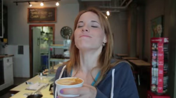 A satisfied coffee drinker from the documentary. - SCREENSHOT FROM THE CAFFEINATED TRAILER