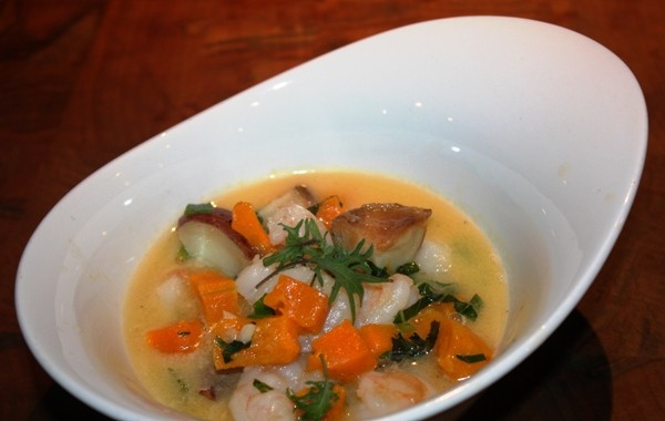 SHELLFISH BUTTERNUT CHOWDER AT THE RESTAURANT AT THE CHESHIRE | COREY SHAFFER