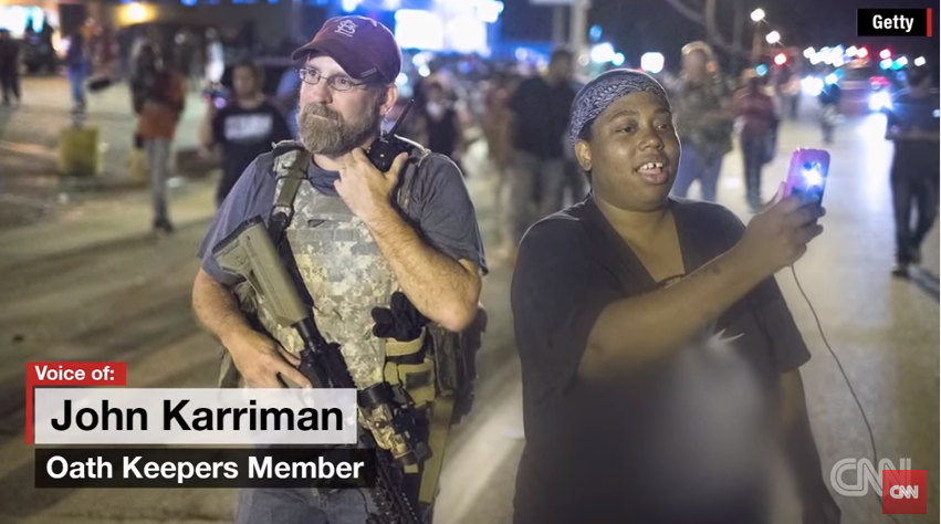 Oath Keepers caused a stir when they appeared in Ferguson in August. - VIA CNN