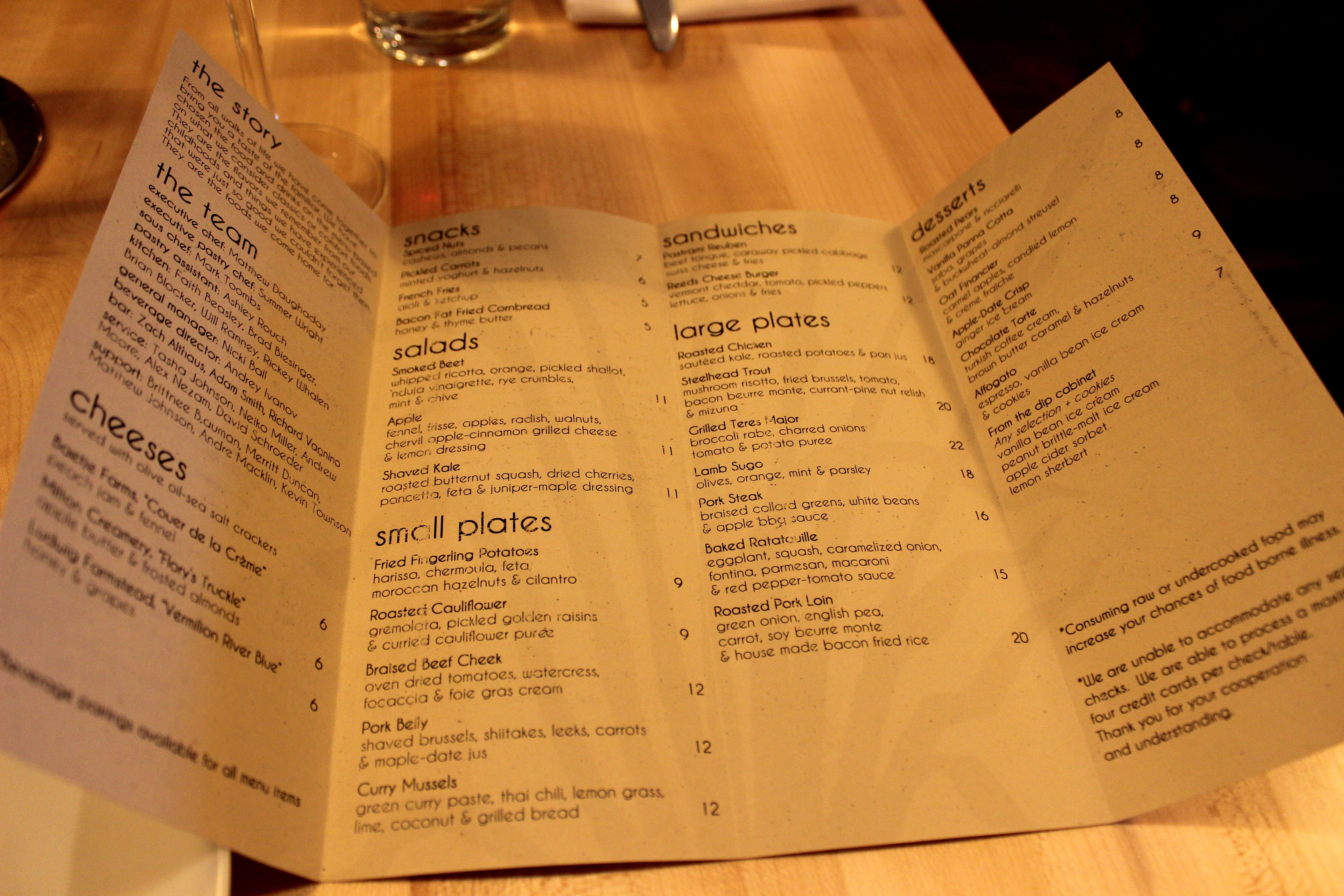The Picky Eaters Guide To Reeds American Table Food Blog - Table 24 menu