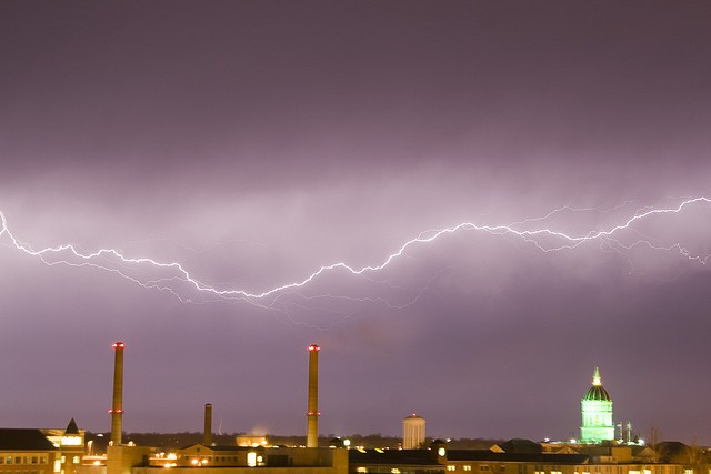 Lightning over the Mizzou campus - PHOTO COURTESY OF FLICKR/MIKE TIGAS