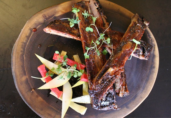 St. Louis-style ribs at Boundary, the new restaurant now open in the Cheshire Hotel. - PHOTO BY JOHNNY FUGITT