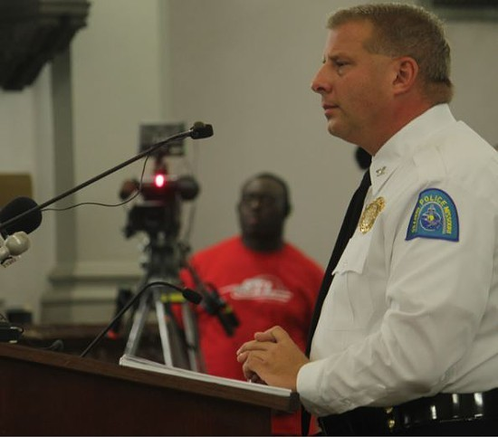 St. Louis Police Chief Sam Dotson addresses the Board of Aldermen at a public safety hearing in 2014. - DANNY WICENTOWSKI