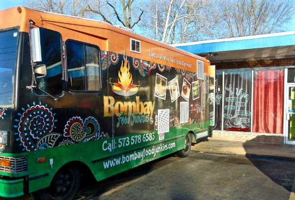 The Bombay Food Junkies truck is parked outside the Panchals' restaurant. - PHOTO BY EMILY HIGGINBOTHAM