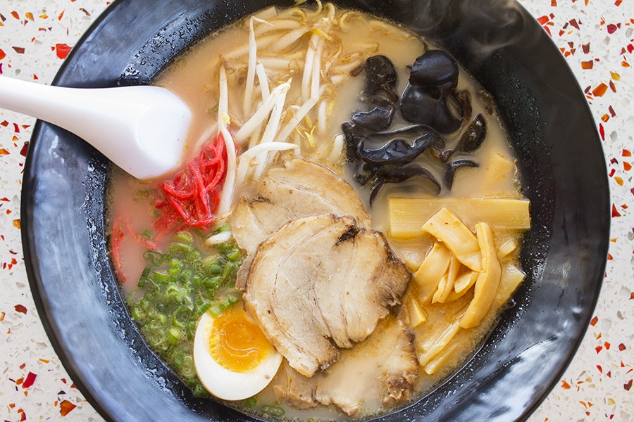 Tonkatsu ramen with roast pork, green onions, boiled egg, seasoned bamboo shoots, bean sprouts, nori, red ginger and wood ear mushroom. - PHOTO BY MABEL SUEN