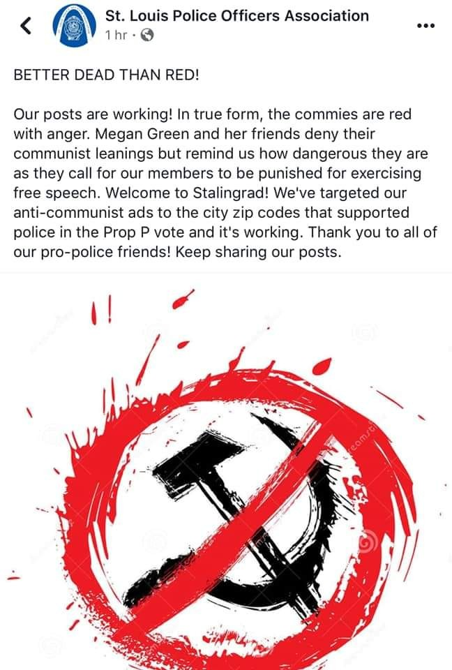 St  Louis Police Union Blasts Megan Green with Propaganda