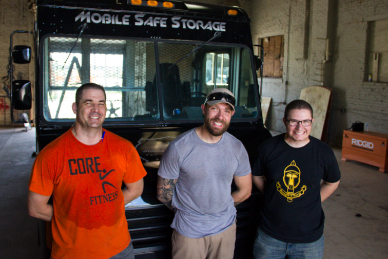 The Weapon Safe Armory team, from left: Rodney Sebaugh, founder Justin Hulsey and Isaac Porch. - PHOTOS BY DANNY WICENTOWSKI