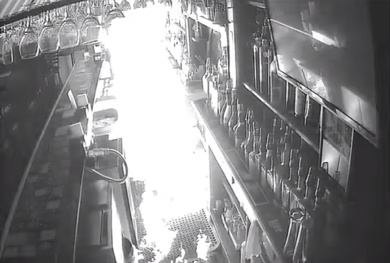 Flames spread through Ole North Town Bar & Grill. - IMAGE VIA SLMPD