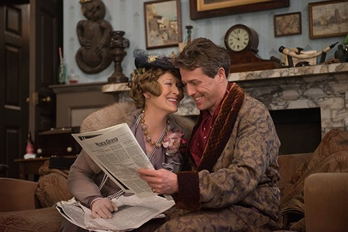 Florence (Meryl Streep) and St. Clair (Hugh Grant) laugh at the critics.