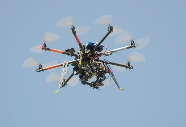 Drones like this should not be allowed over sports stadiums, the St. Louis Cardinals say. - FLICKR/GABRIEL GARCIA MARENGO