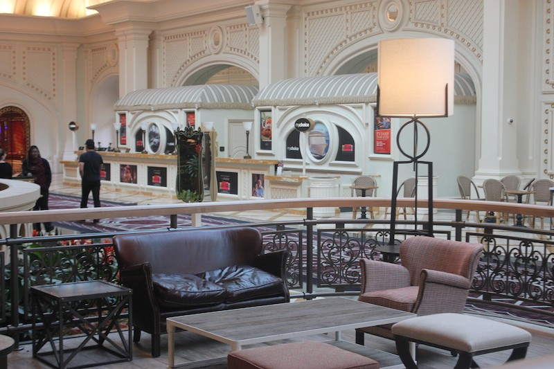 A small lounge area overlooks the path to the casino floor. - PHOTO BY SARAH FENSKE