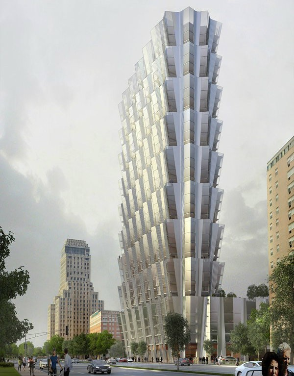 Developers for a 34-story residential tower in the CWE are seeking 15 years of reduced property taxes. - RENDERING BY STUDIO GANG