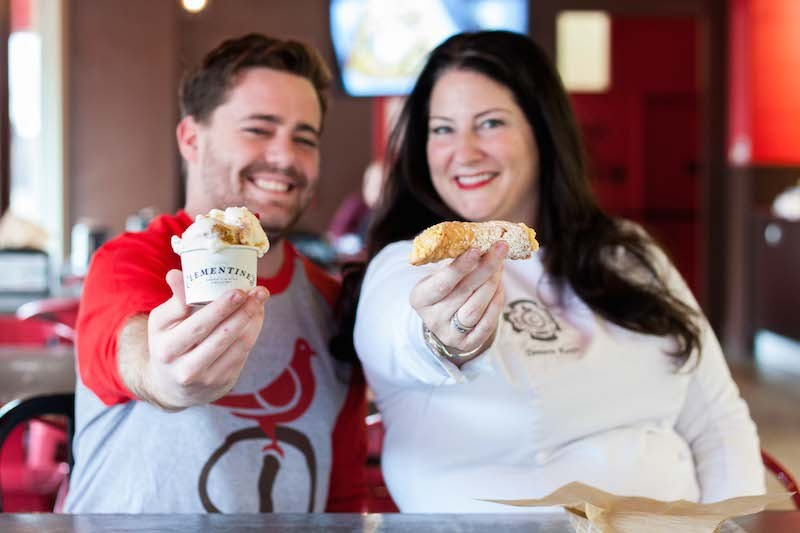 Ricky Nix III of Piccione and Tamara Keefe of Clementine's admire each other's creations. - PHOTO COURTESY OF PICCIONE PASTRY