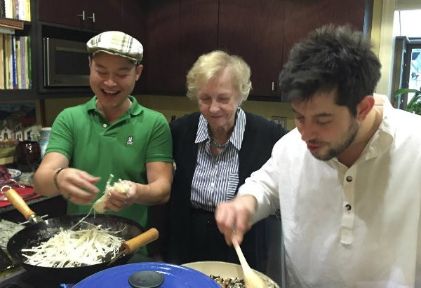 The former senator cooking in her kitchen with chefs Bernie Lee (left) and Ben Poremba (right). - COMPLIMENTS OF JEAN CARNAHAN