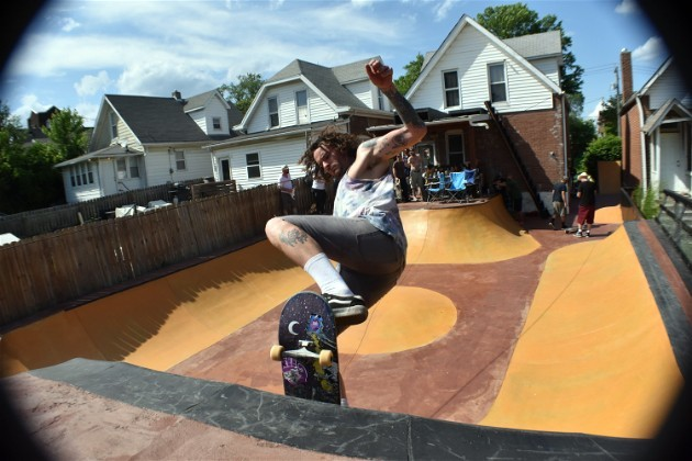 Jonathan Getzschman's entire back yard is one big skate park now. - DANIEL HILL
