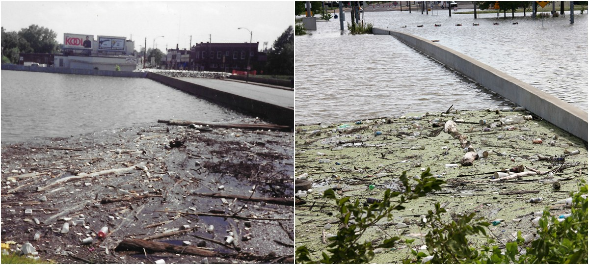 Left: A photo of the flooded Alabama Avenue Bridge that Mike Byrn took in 1993. Right: The Alabama Avenue Bridge on June 5. - MIKE BYRNE/DANNY WICENTOWSKI
