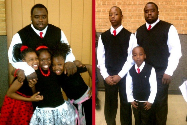 Officer Milton Green, shown both left and right, has four children. - VIA GOFUNDME